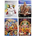Ganesha, Shiva, Lakshmi Narayan and Vishwakarma - Set of 4 Glitter Posters