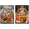 Lakshmi Narayan and Vishwakarma - Set of 2 Glitter Posters