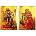 Radha Krishna - Set of 2 Golden Metallic Paper Poster