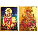 Krishna and Ganesha - Set of 2 Golden Metallic Paper Poster