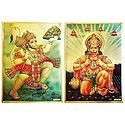 Hanuman - Set of 2 Golden Metallic Paper Posters
