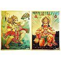 Hanuman - Set of 2 Golden Metallic Paper Posters