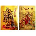 Radha Krishna and Bhagawati - Set of 2 Golden Metallic Paper Posters
