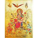 Vaishno Devi with Hanuman and Bhairav