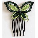 Dark Green and Light Green Crystal Studded Butterfly Hair Comb