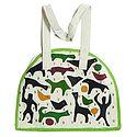 Folk Art Applique on Shoulder Bag with Two Zipped Pocket