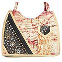 Kantha Embroidered Off White with Red Batik Cotton Bag with Three Zipped Pocket and One Mobile Pocket