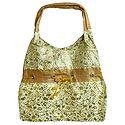 White with Golden Brocade Silk Beach Bag