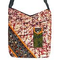 Kantha Embroidered Off-White with Red Batik Cotton Bag with Two Zipped Pocket and One Mobile Pocket