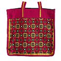 Embroidered Jute Shopping Bag with Two Zipped Pockets