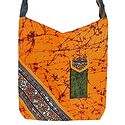 Kantha Embroidered Saffron with Black Batik Cotton Bag with Two Zipped Pocket and One Mobile Pocket