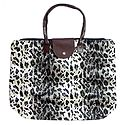 Foldable White Leopard Skin Printed Rexine Bag