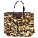 Foldable Yellow & Brown Tiger Skin Printed Rexine Bag