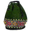 Kantha Embroidered Dark Green Batik Potli Cotton Bag