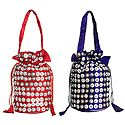 Set of 2 Sequined Fashionable Silk Potli Bags
