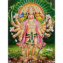 Panchamukhi Hanuman - Unframed Glitter Poster