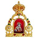 Bal Gopal on Golden Throne Metal Frame - Table Top Picture