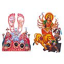 Durga and Vaishno Devi - Set of 2 Stickers