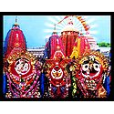 Jagannath, Balaram, Subhadra in Front of Puri Temple - Wall Hanging