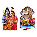 Shiva Parvati and Vishnu Lakshmi - Set of 2 Stickers