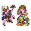 Hanuman and Ganesha - Set of 2 Stickers