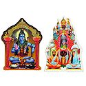 Kalighat Kali with Ramakrishna and Sarada Maa and Shiva - Set of Two Stickers