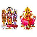 Brahma, Vishnu, Shiva and Goddess Lakshmi - Set of 2 Stickers