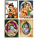 Ganesha and Krishna - Set of 4 Posters