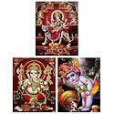 Ganesha, Krishna, Navadurga - Set of 3 Glitter Posters