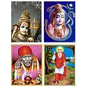 Lord Shiva and Shirdi Saibaba - Set of 4 Posters