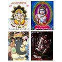 Krishna and Ganesha - Set of 4 Posters