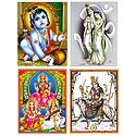 Set of 4 Hindu Deity Posters