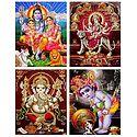 Shiva, Parvati, Ganesha, Krishna, Navadurga - Set of 4 Glitter Posters