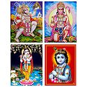 Hanuman and Krishna - Set of 4 Posters