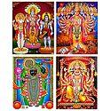 Brahma, Vishnu, Shiva, Krishna, Hanuman and Dwarkadheesh - Set of 4 Posters