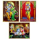 Radha Krishna and Lord Rama - Set of 3 Laminated Posters