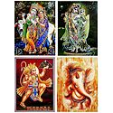 Radha Krishna,Ganesha and Hanuman - Set of 4 Glitter Posters