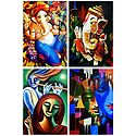 Ganesha, Krishna Meerabai and Radha Krishna - Set of 4 Posters