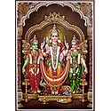 Lord Murugan with His 2 Consorts, Devyani and Valli