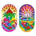Kalash and Swastik with Diya - Set of 2 Stickers