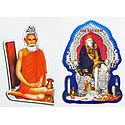 Loknath Baba and shirdi Sai Baba - Set of Two Stickers