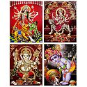 Durga, Ganesha, Krishna, Navadurga - Set of 4 Glitter Posters
