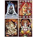 Shiva and Ganesha - Set of 4 Glitter Posters