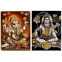 Shiva and Ganesha - Set of 2 Glitter Poster