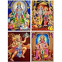 Satynarayan,Ram Darbar and Hanuman - Set of 4 Glitter Posters