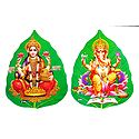 Lakshmi and Ganesha on Pipul Leaf - Set of 2 Stickers