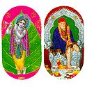 Krishna and Shirdi Sai Baba - Set of Two Stickers