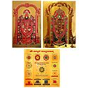 Lord Venkateshwara and Sampurna Vastuyantram - Set of 3 Golden Metallic Paper Poster