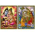 Shiva, Parvati, Ganesha and Vishnu, Lakshmi - Set of 2 Posters