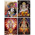 Krishna,Ganesha,Vishnu, Rama - Set of 4 Glitter Poster